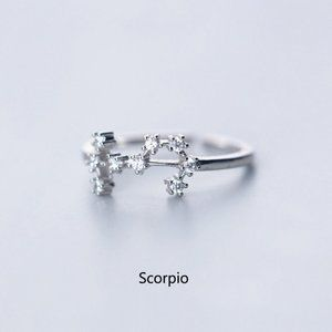 925 Sterling Silver Zodiac Resizable Ring-Scorpio